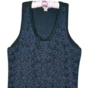 J. Crew Tank Top Black Lace Overlay Lined M